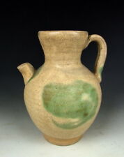 Chinese Antique White Pottery Wine Pot with Green Speckel Deco