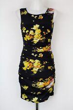Dolce & Gabbana Black Ruched Multi-Color Floral Print Back Zip Dress Size 4