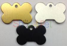 Pet Etiqueta de identificación de hueso de perro en forma de etiquetas Grabado libre ambos lados, De Oro-Plata O Negro
