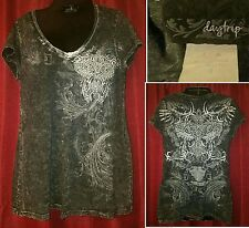 Daytrip black with rhinestones shirt. GUC. Women's medium.