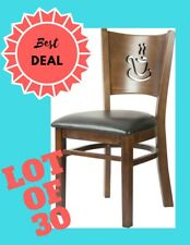 Lot of 30 Restaurant Dining Chair with coffee cup design in Black vinyl seat