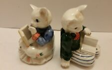 Set of Rare Vintage 1989 Fitz and Floyd Porcelain Cat Bookends