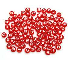500 Pcs Random Mixed Red Acrylic Alphabet/Letter Spacers Beads 7mm Dia.