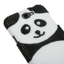 For Samsung Galaxy Note 2 -DIAMOND PEARL BLING HARD CASE COVER BLACK WHITE PANDA