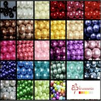 400x 4mm / 200 x 6mm / 100 x 8mm / 50 x 10mm Glass Pearl Beads 30 Various Colour