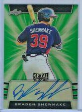 Braden Shewmake 2019 Leaf Metal Draft GREEN Auto 8/10 Braves JERSEY #