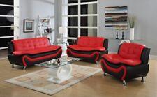 NEW Sofa Loveseat Chair Set Black Red Leather Gel 3PC Modern Living Furniture