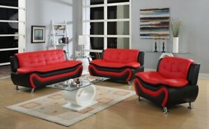 NEW Sofa Loveseat Chair Set Black Red Leather Gel 3PC Modern Living Furniture
