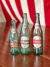 """THREE ANTIQUE Dr. Pepper """"10 - 2 - 4"""" Glass Bottles 8 & 12 oz. Vintage 1960 & 70"""