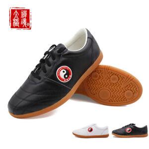 Leather Martial Arts Shoes Tai Chi Kungfu Sneakers Unisex Sport Taolu Footwear