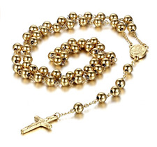 18k Gold Plated Cross Crucifix With Holy Mary Pendant Rosary Bead Necklace