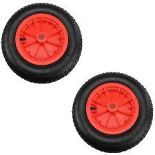 "2x Red 14"" Pneumatic Sack Truck Wheelbarrow Tyres Trolley Wheel Cart Tyre Wheels"