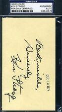 Ken Strong Psa/dna Signed 3x5 Index Card Authentic Autograph