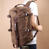 Men Canvas Retro Backpack Rucksack Hiking Shoulder Travel Camping Duffle Bag F