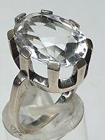 Design Silber Ring 835 Silber mit großem Bergkristall Hersteller H. Th. RG 55