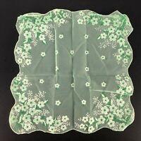 Vintage Handkerchief Hankie Chiffon Green Flocked Daisy Sheer Fabric Material