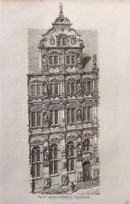 Heidelberg - Schloss, Friedrichsbau, Holzstich um 1870