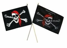 "12x18 12""x18"" Wholesale Combo Pirate Red Hat & Surrender Booty Stick Flag"