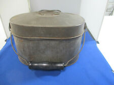 Vintage Tin Metal Coal Miner's Lunch Box Pail 2 Compartment Wooden Handle
