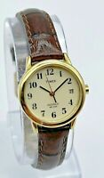 Ladies TIMEX Gold Tone Easy Reader Watch, Brown Leather Band, Indiglo, Running