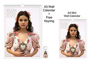 Selena Gomez 2022 A3 A4 Wall Office Calendar + Key Ring