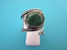 Silver Plate Over Copper Ring, Emerald UK Adj. L 1/2 To N, US 6 To 7 (rg2604)