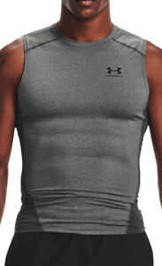 Under Armour HeatGear Armour Mens Sleeveless Compression Top - Grey
