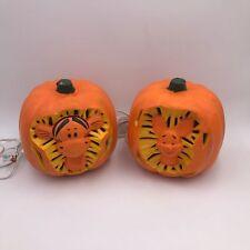Lot of 2 Disney Tigger and Piglet Light Up Pumpkin Jack-O-Lanterns - 1999