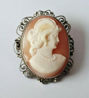 VINTAGE SILVER CARVED  NATURAL SHELL CAMEO BROOCH PIN PENDANT