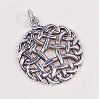 Vintage Sterling Silver Handmade Pendant, 925 silver Irish Celtic Knot