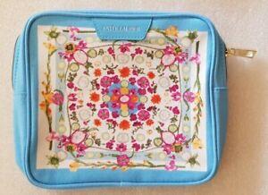 Estee Lauder Make Up/cosmetic/travel bag floral white/blue 18x5x17cm high