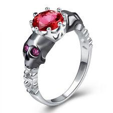 Skull Women Vintage Band Red Rhinestone Wedding Engagement Ring Size 8