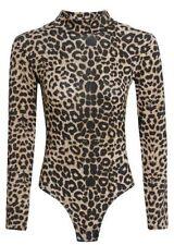 Ladies Women Long Sleeve Lace Floral Bodysuit Stretch Leotard Body Top UK 8-22 Black 2xl