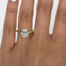 2.00 Ct Oval Cut Solitaire Diamond Engagement Ring 18K Real Yellow Gold Rings
