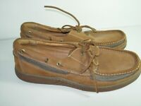 MENS BROWN LEATHER TOMMY BAHAMA LOAFERS BOAT CASUAL COMFORT SHOES SIZE 13 M