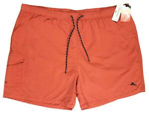 Men's TOMMY BAHAMA RELAX Orange Red Swimsuit Swim Trunks Pockets 2XB 2XL NWT NEW