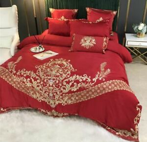 5pc Luxury European Royal Embroidery 600TC Satin Silk Cotton Duvet Bedding Set