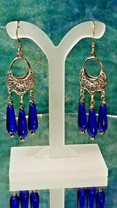 Silver Basket Style Blue Teardrop Chandelier Earrings. Handcrafted A~K~N Design