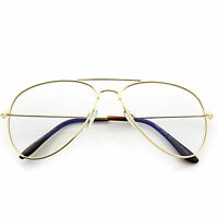 Clear Lens Aviator for fashion Glasses Sunglasses Retro Vintage Style Metal