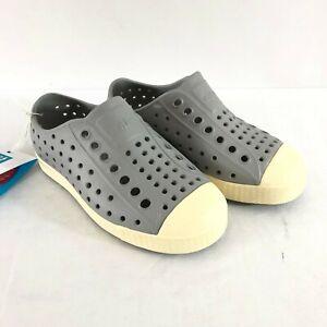 Native Jefferson Boys Girls Shoes Slip On Plastic Water Friendly Gray Size 10
