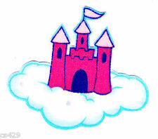 """2.5"""" DORA BOOTS PRINCESS CASTLE ON CLOUDS CHARACTER FABRIC APPLIQUE IRON ON"""
