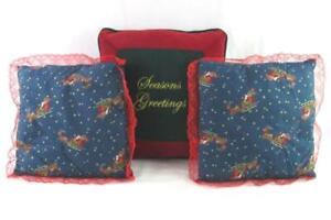 Lot of 3 Christmas Throw Pillows Velvet Santa Sleigh Lace Trim Red Blue Green
