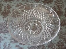 Cut Crystal Glass Salad Punch Bowl Criss-Cross Thumbprint Punch Bowl