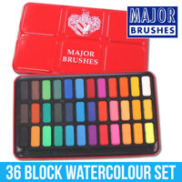 Major Brushes Artist Watercolour Paint Tin - 36 Blocks Red Metal Lid Z1005