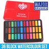 Major Brushes Artist Watercolour Paint Tin - 36 Blocks Red Metal Lid Z1005