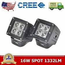 2X 3INCH 16W Square Cube Pods Spot LED Work Light Bumper Offroad Cree Offroad