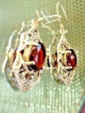 Vintage Red pyrope garnet and marcasite , 925 silver, earrings