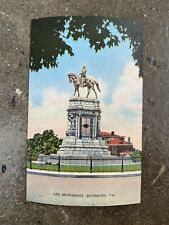 Robert E. Lee Statue Postcard Monument Avenue Richmond VA Unposted Vintage Linen