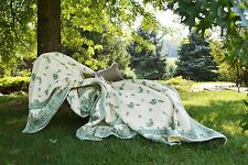 Soft Surroundings Amadora Reversible Quilt Cotton Floral Paisley Teal Ivory King