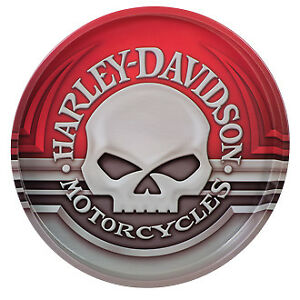 Harley-Davidson Willie G Skull Tin 12 Serving Snack/Drink Tray, Red HDL-18561